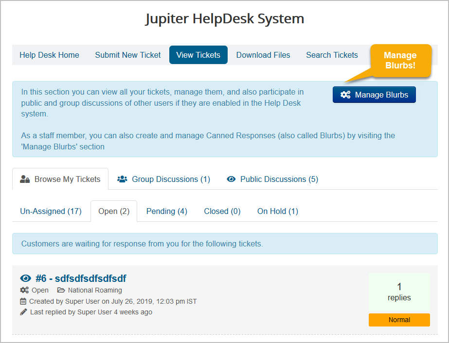 blurb-manageblurbs JV-HelpDesk Pro v2.4 - New Feature - Canned Responses for Staff